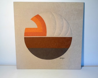 Vintage Ron Brejtfus Circlet Textile Art Abstract Sun 70s Panton Era Quilted Fabric Wall Hanging Mid Century Modern