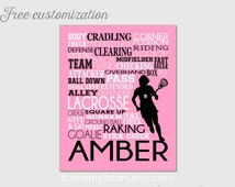 Lacrosse Typography Art Canvas or Print, Girl's Room Art, Choose the Colors, Great Gift for any Female LAX Team or Coach, Lacrosse Playe