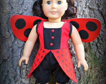 "Doll Ladybug Costume Fits Your 18"" Girl Doll American Made"