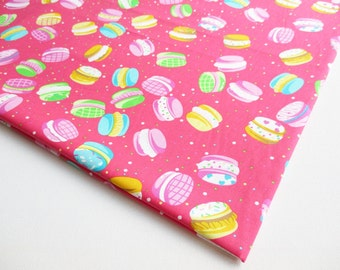 Macaroon Fabric by the yard, Sweets Colorful ,bakery, pink violet yellow green blue macaroon,kitchen decoration, diary cover, curtain, CT465