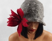 Felted Hat Cloche Hat grey Flapper hat LA BELLE EPOQUE Raw Wool wearable art art deco wool felt nunofelt nuno felt silk