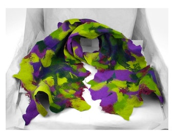 Felted Scarf Nunofelt Scarf Green scarf MULTICOLOR SCARF Nuno felt scarf Felted Scarf fairy scarf wearable art Felt Wrap Nunofelted Scarves