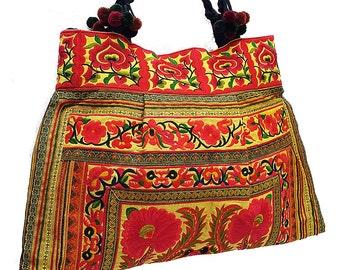Thai Hill Tribe Bag Pom Pom Hmong Thai Bag Embroidered Ethnic Purse Bag Woven Bag Hippie Bag Hobo Boho Bag Shoulder Bag Gold Yellow Orange