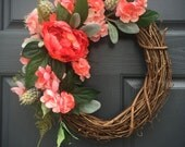 Coral Colored Wreath, Coral Colors, Spring Wreath, Spring Door Decor, Grapevine Wreaths, Small Wreaths for Door