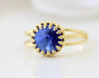 Sapphire Ring | Delicate gold ring set with a cobalt blue Swarovski crystal | Promise ring