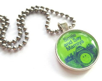 Mamiya Camera Silver Tray Necklace with Stainless Steel Ball Chain - Smile and Say Mamiya