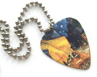 Van Gogh Guitar Pick Necklace with Stainless Steel Ball Chain - Night Cafe - gift for artist