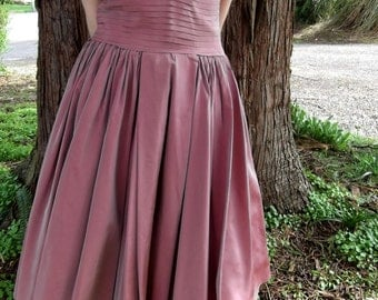 VINTAGE ROSE DRESS 1950's Fred Perlberg Pleated Size Small