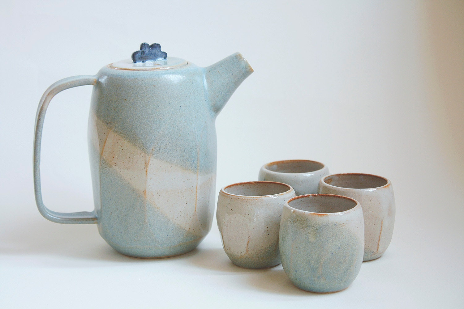 Tea Set Faceted Ceramic Blue And White Tea Pot And Four Cups