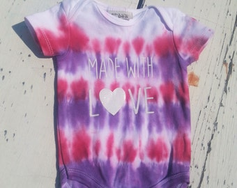 Tie Dye Infant Onesie // Red and Purple // Made with Love in White Glitter