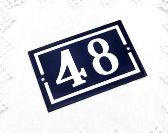 Vintage Traditional French Enamel House Number Plate Number 48 in Dark Blue with White Colored Numbers / Porcelain House Sign Retro Interior