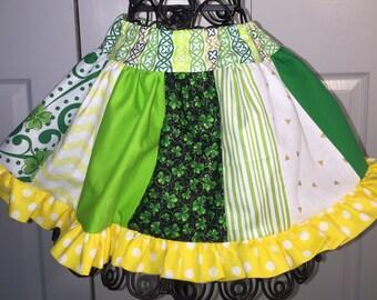 St Patty's Day Fighting Irish Green white Gold Yellow Twirly Ruffle Skirt