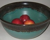 Pottery Serving Bowl, XL 4 qt in Evergreen, Handmade Microwave, Dishwasher, Lead Free