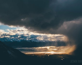 Landscape Photography, Alaska Turnagain Arm, Mountain, Epic Photo, Clouds, Rain, Weather Art, Snow, Fairytale, Blue, Gold, Reflections