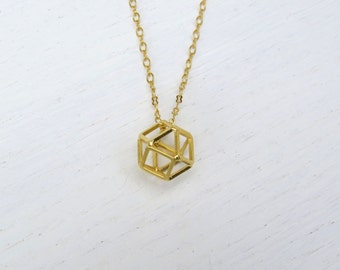 Long gold pendant necklace, Geometric necklace, Polyhedron pendant, Hexagon necklace