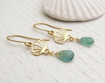 Green apatite earrings, Gold seashell earrings, Sea inspired jewelry