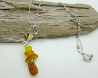 Natural Amber Sea Glass Pendant Necklace, Beer Bottle Seaglass