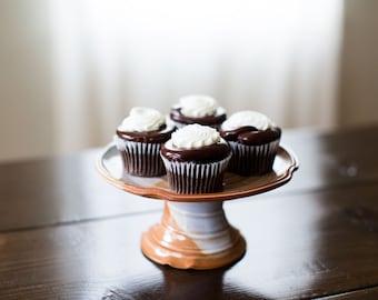 Medium Cake Stand / Pedestal (Tri-Fecta Glaze)