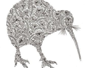 "Kiwi Bird Patterned Art Print 8""x10"""