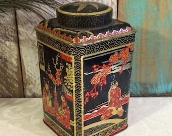 c 1930 Vintage Tin, Asian Art, Black and Red, Vintage Tea Tin, Decorative Tin, BW & M, Barringer Wallis and Manners, LID STUCK