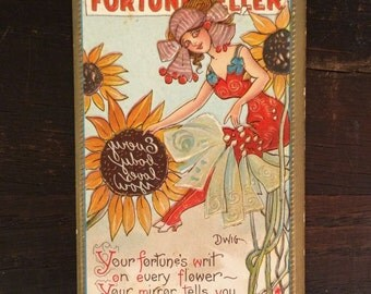 1909 Fortune Teller Antique Postcard, Dwig Sunflowers Clare Dwiggins, Fortune Telling Gypsy Art Nouveau Vintage Halloween Pretty Lady