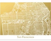 San Francisco Map Art, San Francisco Print in Landscape Format, City Map Print,  Gold Foil Map, The City by the Bay Map Wall Art
