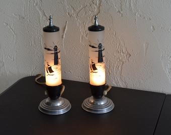 Rare Pair of Art Deco Satin Bullet Skyscraper Boudoir Table Lamps 1920's