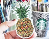 Vinyl Sticker Pineapple Sticker Pattern Waterproof Sticker Pineapple Decal Laptop Sticker Ipad Sticker