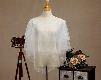 Tulle Wedding Jacket, Lace Bridal Jacket, Tulle Wedding Cover, Lace Wedding Shawl, Lace Bridal Shawl, Lace Bridal Cover, Lace Bridal Shrug