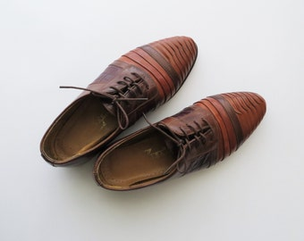 80s Zengara Oxfords Unisex Tie Shoes Textured Leather Tricolor Women's Size 9 1/2 or Euro 40
