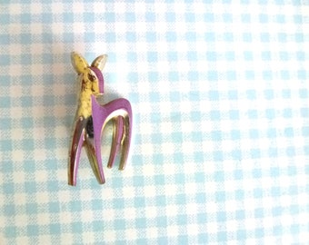 purple gold deer brooch