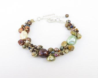 Brown green freshwater pearl bracelet with glass beads on gold silk thread