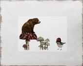 Bird and Bear Print -- Woodland Animals Illustration // Limited Edition Mushroom Art