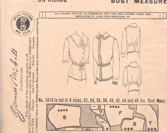 Antique 1913 McCall 5013 Sewing Pattern Ladies Dressing Sacque or Blouses Peplum Two Collar Styles Size 36 Bust Non Printed Complete