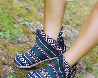 Women's Tribal Vegan Ankle Boots, Womens Ankle Boots, Women's Tribal Boots, Vegan Boots, Hmong Boots, Hippie Boots, Boho Boots, Green Boots
