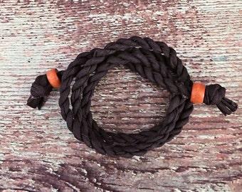 Fabric Wrap Bracelet - Charcoal - Eco Friendly