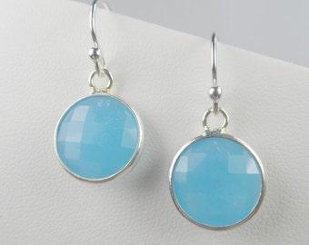 "Sterling Silver Shepherd Hook Earrings with Round Bezel Set Crystal Drops - 1"" length"