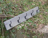 Farmhouse Rustic Coat Rack Grey Stain 5 Black Hooks Handmade Ready to Ship