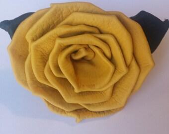 Yellow Buckskin Leather Rose Pin