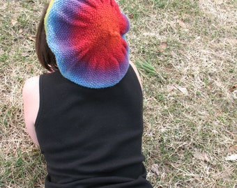 Rainbow Tam Beret Cap Slouch Hat Wool Adult Size Made in Vermont Kauni EQ Yarn from Denmark Festival Fair Concert Hippie