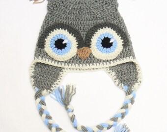 Owl Hat, Kids Hat, Crochet Owl hat, Kids Winter Hat, Crochet Kids Hat, Earflap Hat, Toddler Boy Outfit, Bird Hat, Cute kids Hat, Infant Hat