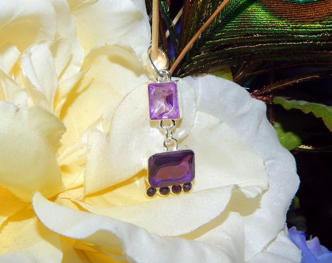 Scottish Primrose Fairy inspired vessel - Handcrafted Amethyst dangle necklace