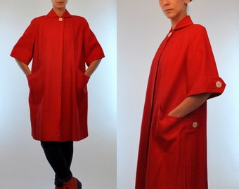 Vintage 50s Fine Linen Peter Pan Collar Single Button Swing Jacket. Woven Red Mod boho Dress Summer Opera Coat. Avant Garde Outerwear. Small