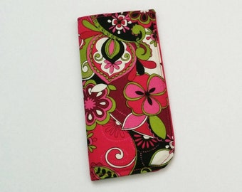 Pink Eyeglass Case, Floral Eyeglass Case, Eyelass Holder, Sunglasses Case, Eyeglass Pouch