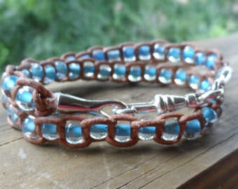 Soft Tan Leather Double Wrap Braceled with Baby Blue Czech Glass Beads and Silver Plated Ends and Clasp