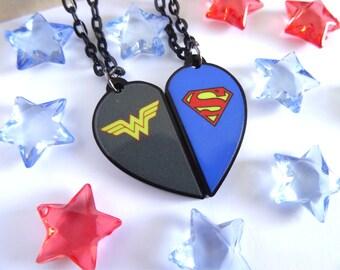 WonderWoman and Superman-BFF Necklace Set