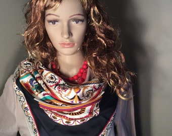 Vintage Ginnie Johansen Inc. 1987 Silk Print scarf
