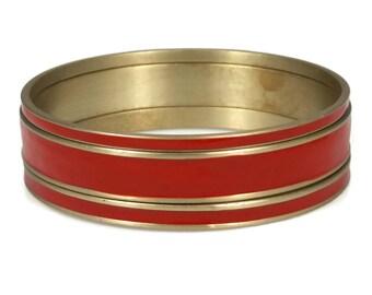 Red Enamel Brass Bangle Bracelet Set