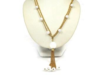 Vintage White Beaded Long Tassel Necklace 1970s
