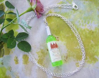 Green wine bottle pendant necklace - wine jewelry - plastic wine pendant - silver chain necklace - mini wine bottle necklace - wine gift
